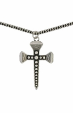 Montana Silversmiths Womens Antiqued Silver Horseshoe Nail Cross Necklace
