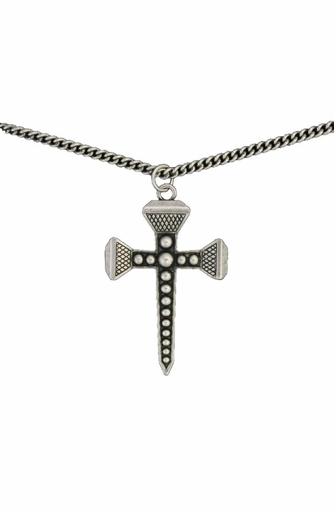 Montana Silversmiths Womens Antiqued Silver Horseshoe Nail Cross Necklace (Closeout)