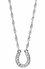 Montana Silversmiths Womens Crystal Lucky Horseshoe Necklace - Clear