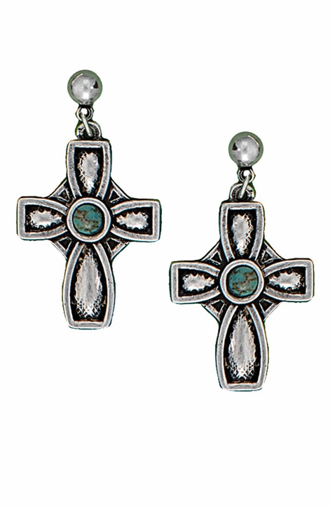 Montana Silversmiths Womens Desert Faith Cross Earrings