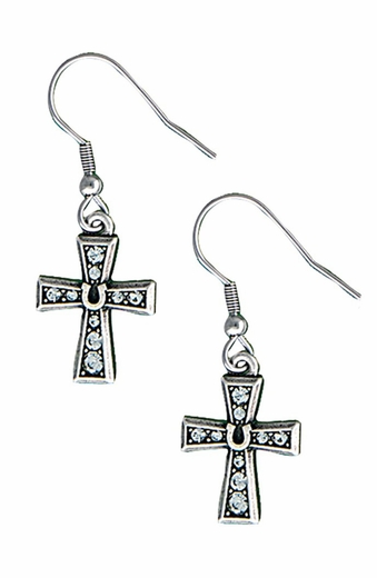 Montana Silversmiths Womens Horseshoe Cross Dangle Earrings
