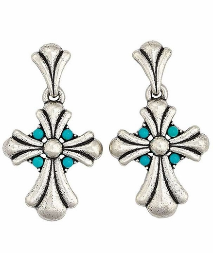 Montana Silversmiths Womens Misson Cross Earrings