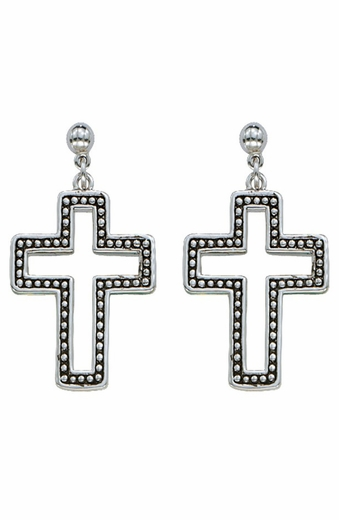 Montana Silversmiths Womens Studded Cross Earrings (Closeout)