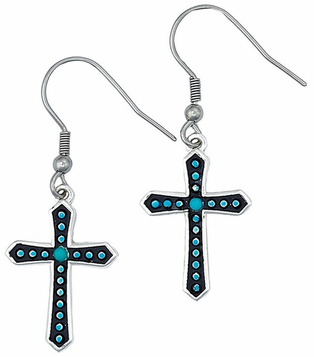 Montana Silversmiths Womens Turquoise Dotted Silver Cross Earrings (Closeout)