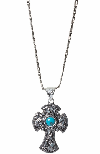 Montana Silversmiths Womens Blue Earth Antiqued Filigree Cross Necklace