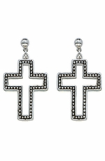 Montana Silversmiths Womens Studded Cross Earrings