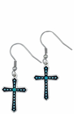 Montana Silversmiths Womens Turquoise Dotted Silver Cross Earrings