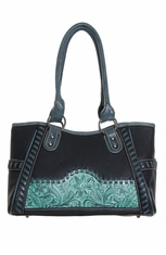 Montana West Trinity Ranch Collection Lone Star Flower Handbag - Black