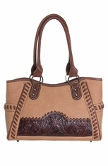 Montana West Trinity Ranch Collection Lone Star Flower Handbag - Tan