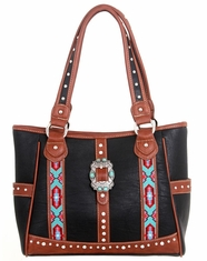 Montana West Women's Trinity Ranch Aztec Buckle Collection Handbag - Black
