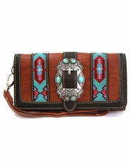 Montana West Women's Trinity Ranch Aztec Buckle Collection Wallet - Brown