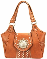 Montana West Women's Trinity Ranch Buckle Collection Handbag - Tan