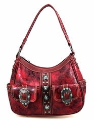 Montana West Women's Trinity Ranch Concho Collection Handbag - Red