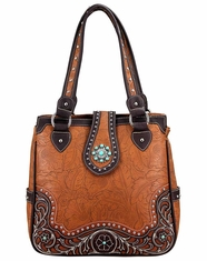 Montana West Women's Trinity Ranch Concho Collection Handbag - Tan (Closeout)