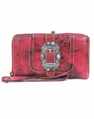 Montana West Women's Trinity Ranch Concho Collection Wallet - Red