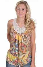 Mystree Womens Crochet Neckline Printed Tank Top - Orange