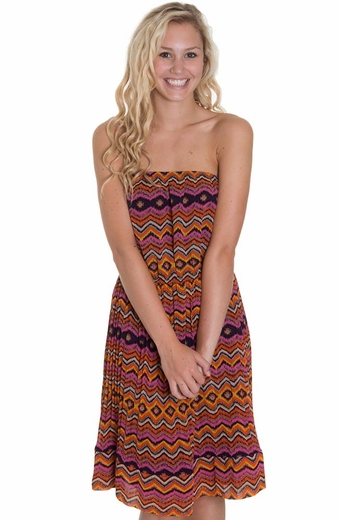 Mystree Womens Tube Top Printed Dress