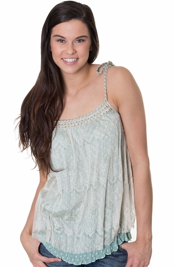Mystree Womens Lace Cape Tunic with Braided Trim - Mint