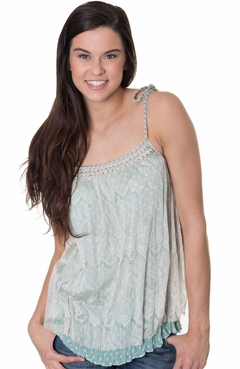 Mystree Womens Lace Cape Tunic with Braided Trim - Mint (Closeout)