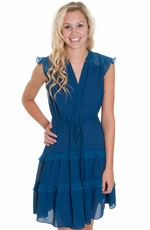 Mystree Womens Sheer Shoulder Tiered Ruffle Dress - Teal (Closeout)
