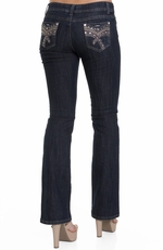 Jz Junior's Fancy Embellished Boot Cut Jeans - Dark Wash