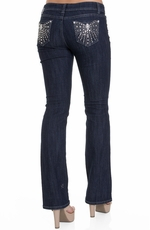 Jz Junior's Bow Embellished Boot Cut Jeans - Dark Wash (Closeout)
