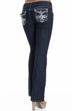Jz Junior's Embellished Cross Boot Cut Jeans with Flap Pockets - Dark Wash