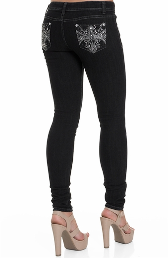 Jz Junior's Embellished Pocket Skinny Jeans - Black (Closeout)