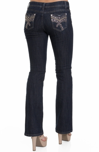 Jz Junior's Fancy Embellished Boot Cut Jeans - Dark Wash (Closeout)