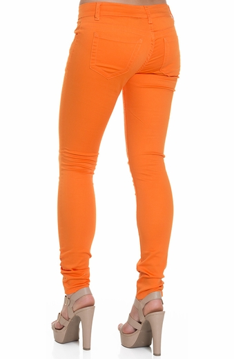 Nina Rossi Womens Colored Skinny Stretch Pants - Orange
