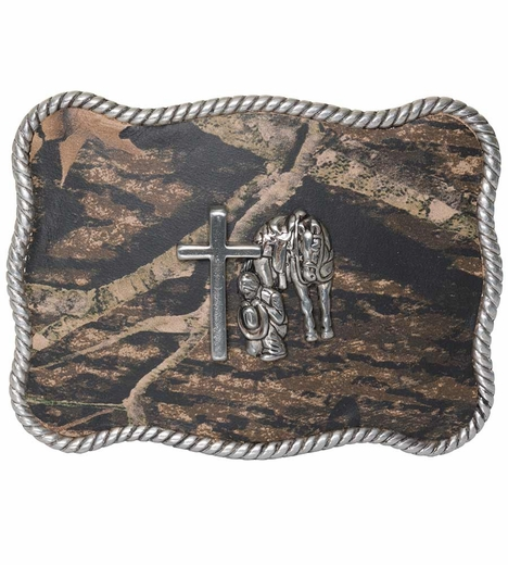 Nocona Mossy Oak Cowboy Prayer Buckle (Closeout)