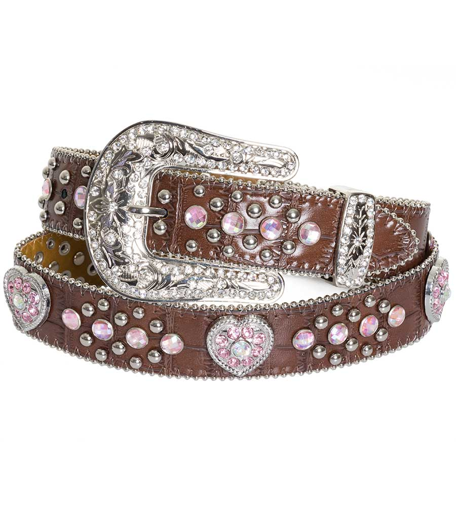 Nocona Girls Alligator Print Belt with Pink Crystal Heart Conchos - Brown