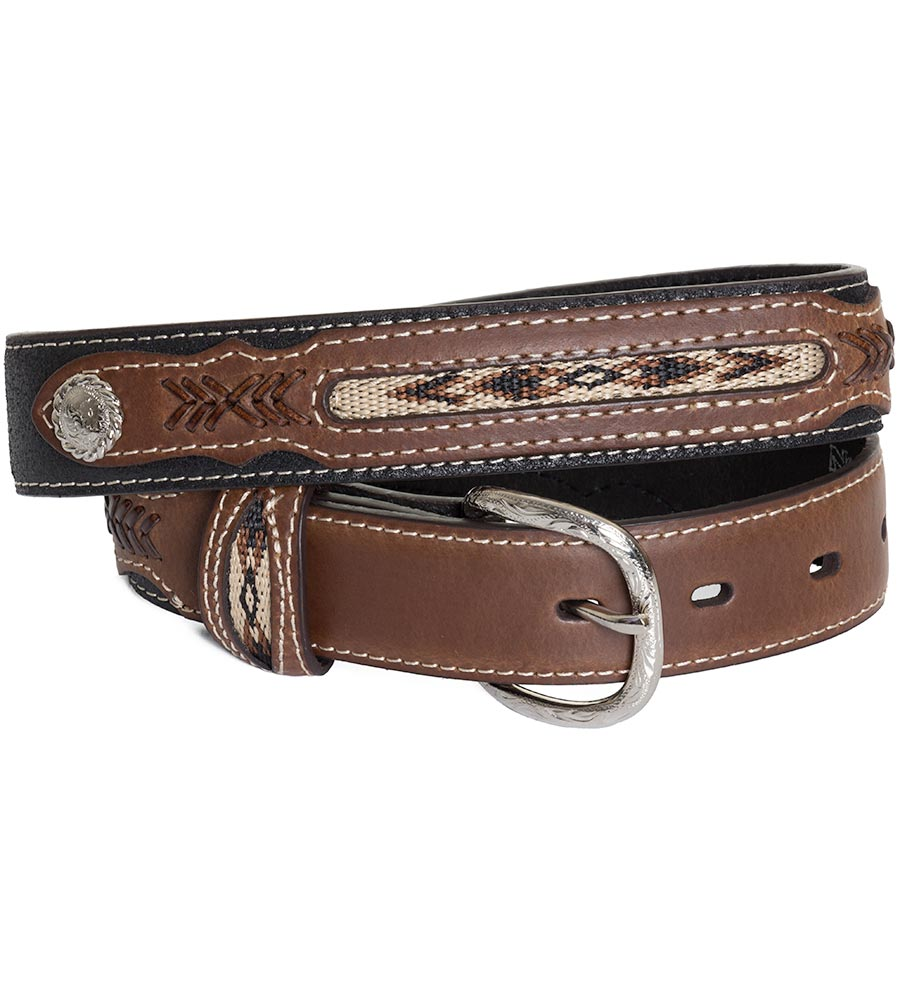 Nocona Kid's Fabric Inset Belt - Black/Brown