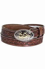 Nocona Kids Bullrider Floral Belt - Brown (Closeout)
