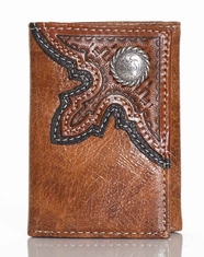 Nocona Men's Basket Weave Rope Concho Tri-Fold Wallet - Brown