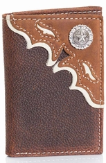 Nocona Men's Overlay Tri-Fold Wallet - Brown