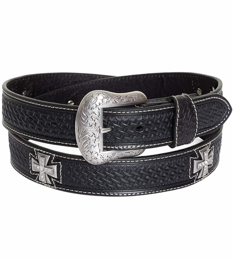 Nocona Mens Basket Weave Maltese Cross Belt - Black (Closeout)