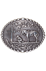 Nocona Oval Praying Cowboy Buckle - Silver