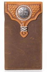 Nocona Mens Praying Cowboy Concho Wallet - Tan