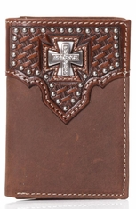Nocona Mens Tri-Fold Maltese Cross Wallet - Brown