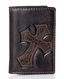 Nocona Tri-Fold Mens Diagonal Cross Wallet - Brown