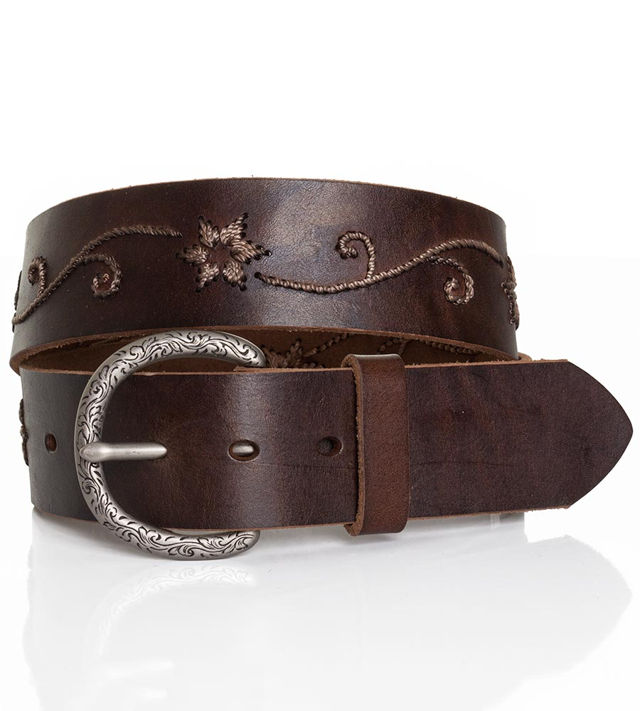 "Nocona Women's 1 1/2"" Floral Scroll Belt - Brown"