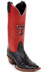 "Nocona Women's 13"" Texas Tech Ostrich College Cowboy Boots - Red/Black"