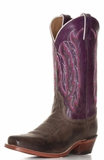 "Nocona Women's Legacy 11"" Snip Toe Cowgirl Boots - Chocolate America/ Purple Willow"