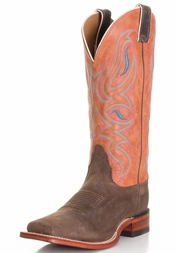 Nocona Women's Legacy Square Toe Cowboy Boots - Dark Brown Ponteggio