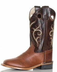Old West Children's Broad Square Toe Boots - Brown