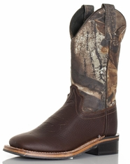 Old West Children's Broad Square Toe Boots - Brown/Real Tree® Camo