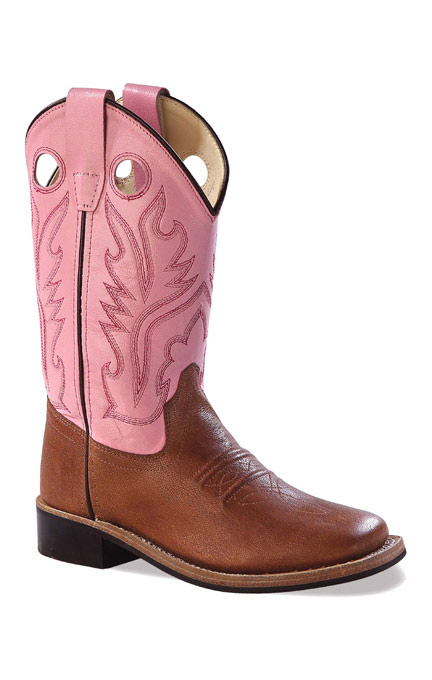Old West Children's Broad Square Toe Leather Western Boots - Pink/ Brown