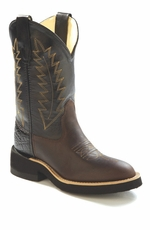Old West Children's Round Toe Leather Western Crepe Boots - Black/ Brown (Closeout)