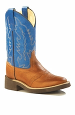 Old West Children's Square Toe Leather Western Crepe Boots - Blue/ Tan